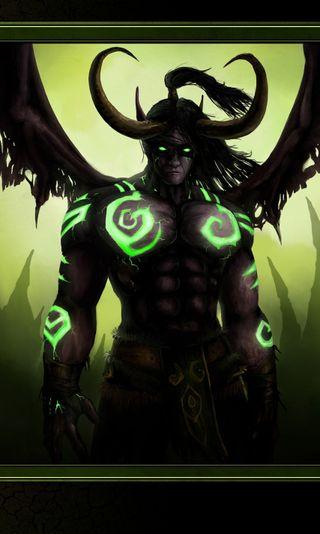 Обои на телефон охотник, фантазия, мир, зеленые, варкрафт, illidan, horns, deamon