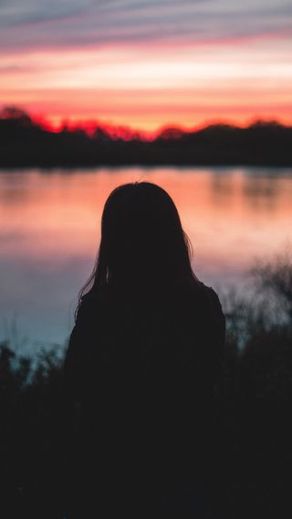 Обои на телефон силуэт, настроение, природа, озеро, одиночество, люди, любовь, закат, женщина, девушки, love