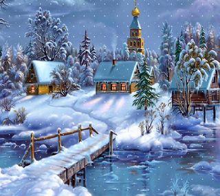 Обои на телефон рождество, ночь, новый, зима, christmas night