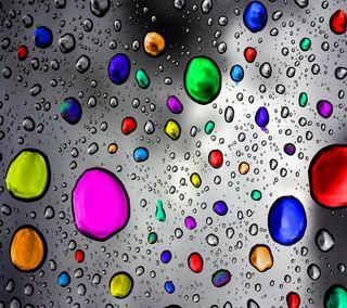 Обои на телефон цветные, капли, дождь, вода