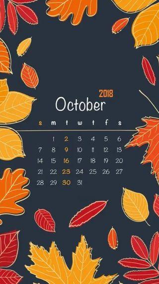 Обои на телефон числа, календарь, осень, октябрь, месяц, листья
