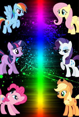 Обои на телефон пони, цветные, радуга, мой, маленький, rainbow color, mane 6