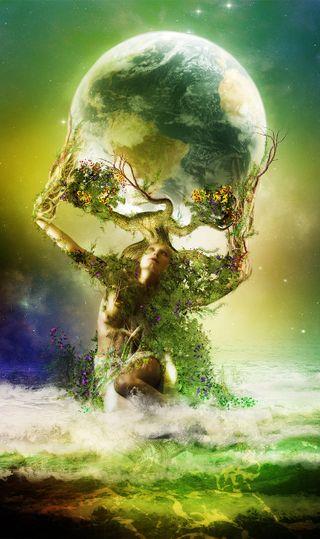 Обои на телефон фикция, будущее, фантазия, трава, земля, зеленые, вселенная, sains fiction, green grass