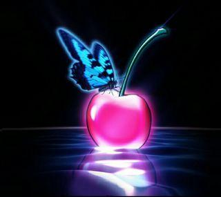 Обои на телефон вишня, черные, стекло, синие, розовые, неоновые, neon cherry