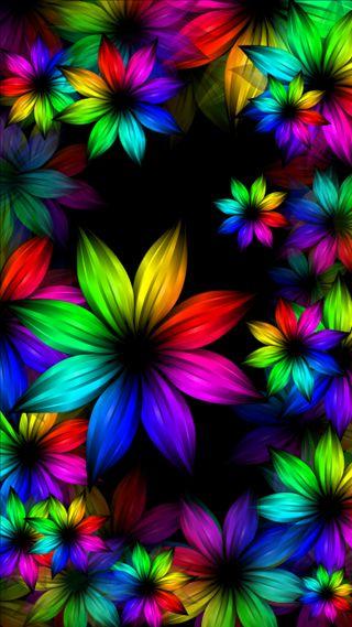 Обои на телефон три, радуга, неоновые, цветы, абстрактные, rainbow flowers