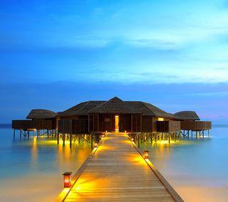Обои на телефон хижина, рай, песок, природа, пляж, небо, море, мальдивы, желтые, sea beach, picnic