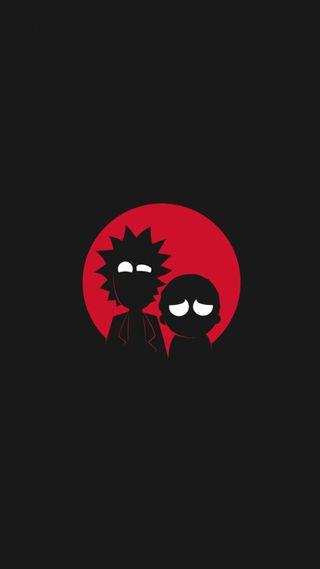 Обои на телефон морти, черные, рик, простые, мультфильмы, красые