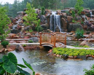 Обои на телефон сад, пруд, водопад, путь, прекрасные, мост, endearing
