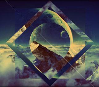 Обои на телефон планета, фантазия, круги, квадратные, горы, геометрия, абстрактные