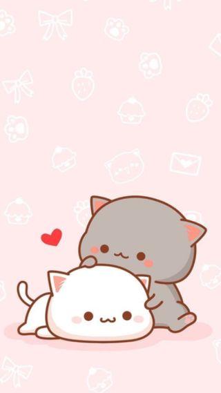 Обои на телефон каваи, розовые, милые, любовь, кошки, коты, love, cute cats
