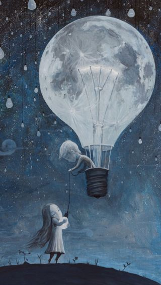 Обои на телефон дети, я, шары, романтика, небо, любовь, луна, картина, звезды, звезда, love, he gave me a star