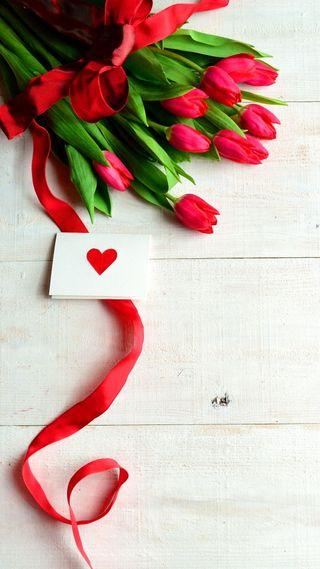 Обои на телефон сообщение, фон, тюльпаны, романтика, любовь, красые, деревянные, note, love