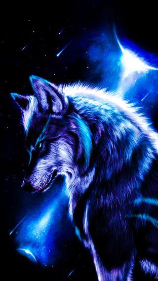Обои на телефон эпичные, синие, одинокий, облака, луна, волк, pack