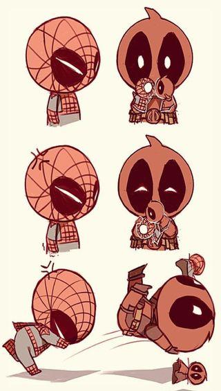 Обои на телефон дэдпул, человек паук, dfsf, dfgdf, deadpool n spiderman