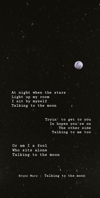 Обои на телефон песня, эстетические, черные, цитата, марс, луна, космос, амолед, talking to the moon, bruno mars, amoled