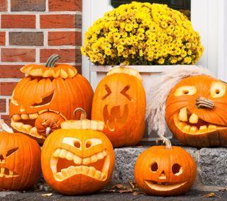 Обои на телефон тыква, хэллоуин, страшные, смайлики, сентябрь, оранжевые
