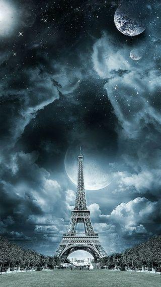 Обои на телефон эйфелева башня, башня, париж, луна, звезды, eiffel tower paris