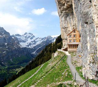Обои на телефон сцена, пещера, здания, евро, дом, горы, cave home