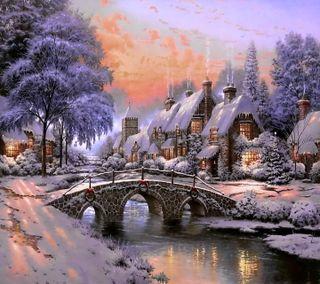 Обои на телефон дом, снег, рождество, ночь, зима, деревня, cobblestone xmas