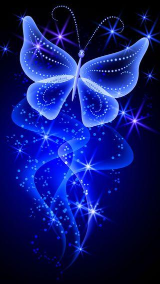 Обои на телефон сияние, синие, неоновые, бабочки, абстрактные