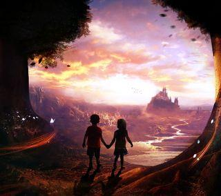Обои на телефон дети, фантазия, сказочные, картина, дизайн, арт, fairy tales kids, art