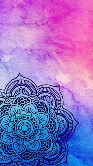 Обои на телефон синие, милые, дизайн, розовые, фиолетовые, симпатичные, мандала, акварель