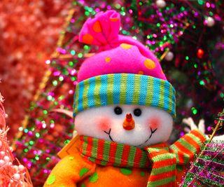 Обои на телефон маленький, снеговик, снег, рождество, праздник, дерево, little snowman