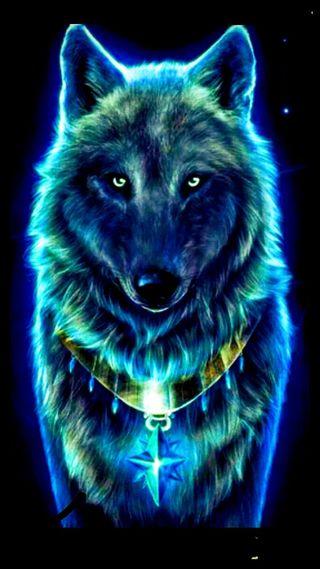 Обои на телефон магия, синие, волк, blue magic