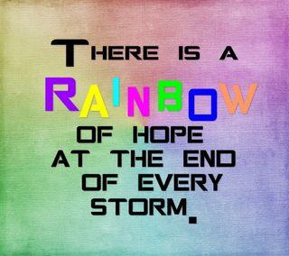 Обои на телефон надежда, шторм, цитата, текст, слова, радуга, конец, знаки, after