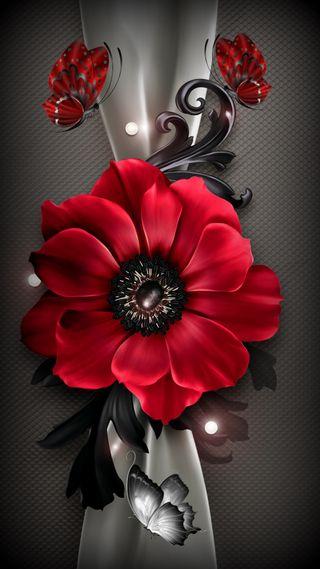 Обои на телефон цветы, серые, лотус, красые, бабочки, абстрактные