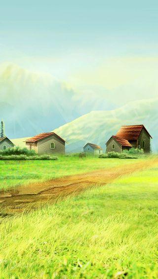 Обои на телефон страна, трава, природа, пейзаж, дома, air