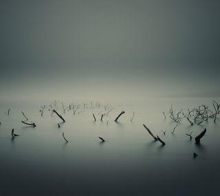 Обои на телефон холм, небо, море, горизонт, вода, ветка, sticks