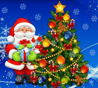 Обои на телефон счастливое, санта, рождество, подарок, зима, дерево