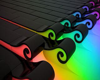 Обои на телефон волны, черные, радуга, красочные, colorful waves