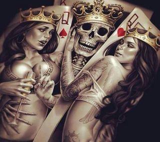 Обои на телефон рисунки, череп, сердце, прекрасные, написано, милые, любовь, королева, арт, queen skull, love, art