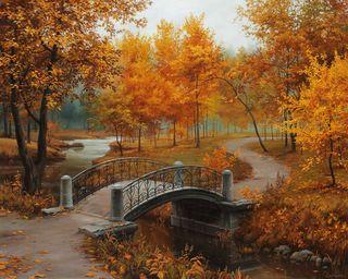 Обои на телефон отлично, старые, река, парк, осень, мост, листья, лес, красые, вода, арт, fine lushpin, autumn in old park, art