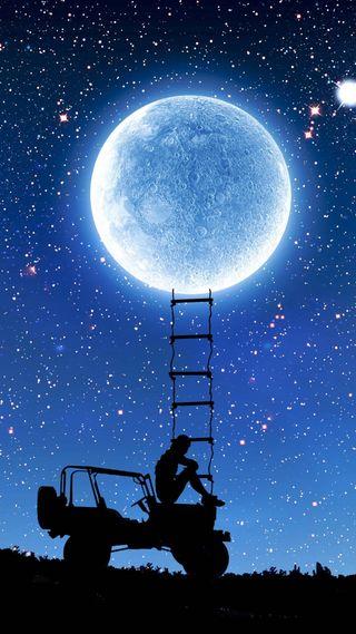 Обои на телефон энтерпрайз, корабли, ночь, луна, космос, звезда, дорога, грустные, trek, kurdistan, goblin