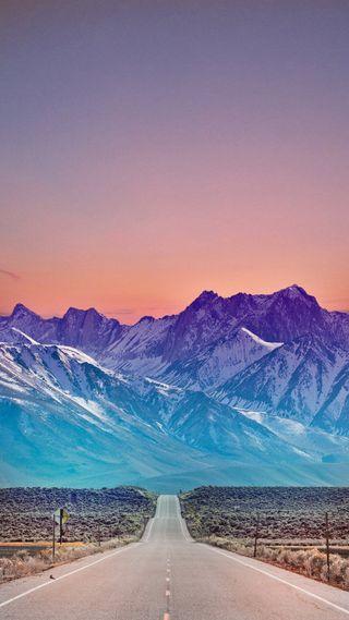 Обои на телефон горы, цветные, природа, пейзаж, маршрут, закат, дорога, perfect