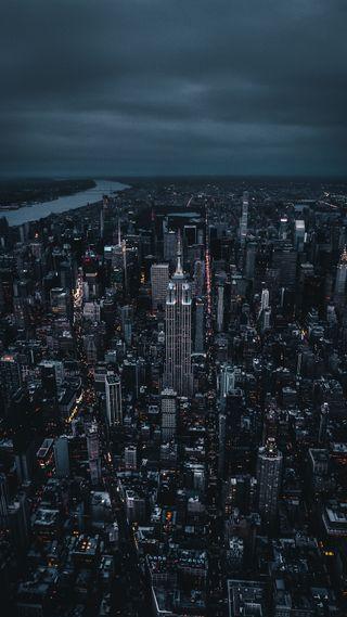 Обои на телефон темные, огни, ночь, новый, небо, йорк, город, горизонт, skyline, hd