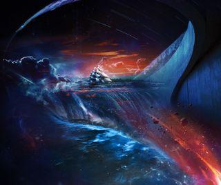 Обои на телефон корабли, планеты, парусные, космос, звезды, галактика, galaxy