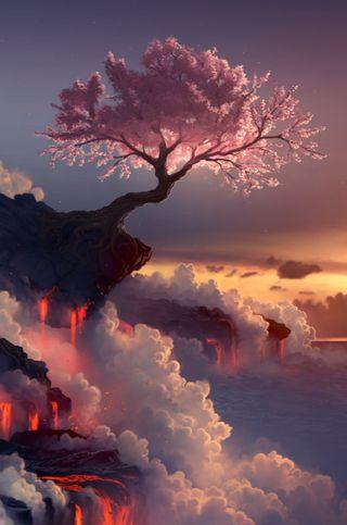 Обои на телефон фантазия, дерево, розовые, лепестки, лава, китайские, восточные, i4