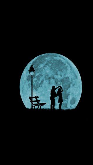Обои на телефон черные, танец, синие, пара, отношения, любовь, луна, дата, love, 929