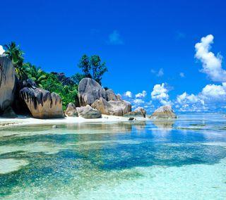 Обои на телефон эпичные, тропические, рай, океан, пляж, пальмы, море, вода, epic beach