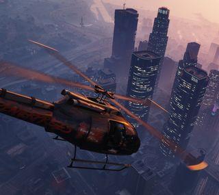 Обои на телефон чоппер, небоскребы, вертолет, великий, гта, авто
