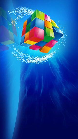 Обои на телефон куб, фон, синие, сверкающие, красочные, rubik