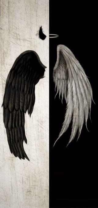 Обои на телефон hell, horn, devil and angel, черные, белые, ангел, дьявол, небеса, кольцр