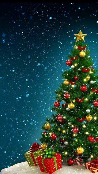 Обои на телефон год, украшение, снег, рождество, праздник, подарки, новый, дерево