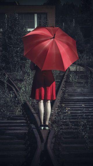 Обои на телефон настроение, одиночество, люди, любовь, красые, женщина, железная дорога, девушки, амбрелла, love, girl with umbrella