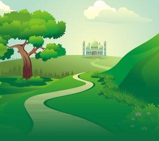Обои на телефон исламские, трава, пейзаж, мультфильмы, мечеть, весна, kinastir