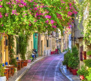 Обои на телефон улица, путь, лето, природа, прекрасные, греция